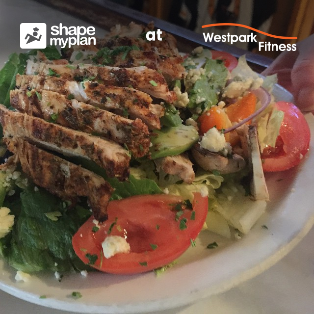 cajun chicken salad chicken and salad on a plate westpark fitness recipe of the week