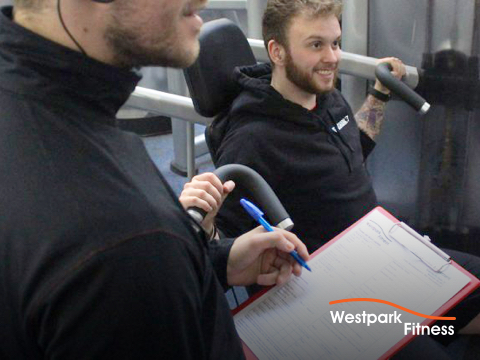 beach body guide male gym goer using exercise machine and male personal trainer supervising him with clipboard