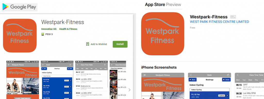 fitness tech at westpark fitness screenshots of westpark fitness app in apple app store and google play store