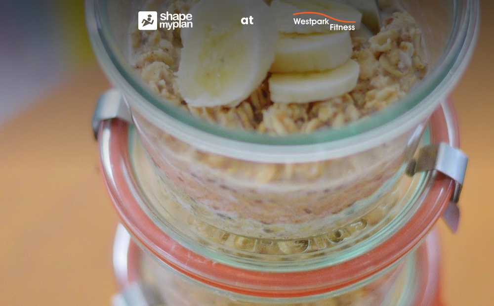 overnight oats recipe of the week at westpatrk fitness oats in glass containers with sliced banana on top