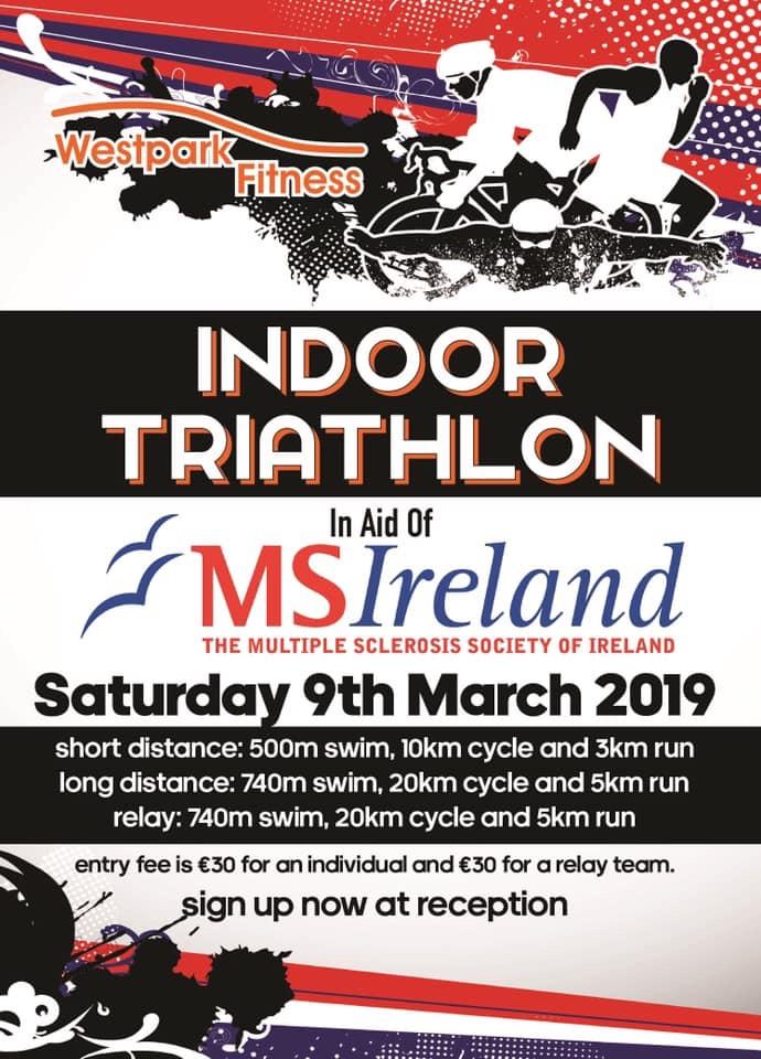indoor triathlon for ms ireland at westpark fitness poster