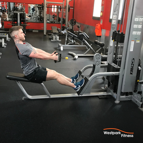 seated back row exercise at westpark fitness male gym goer sitting at machine with arms extending gripping the handle of a cable pulley machine with both hands