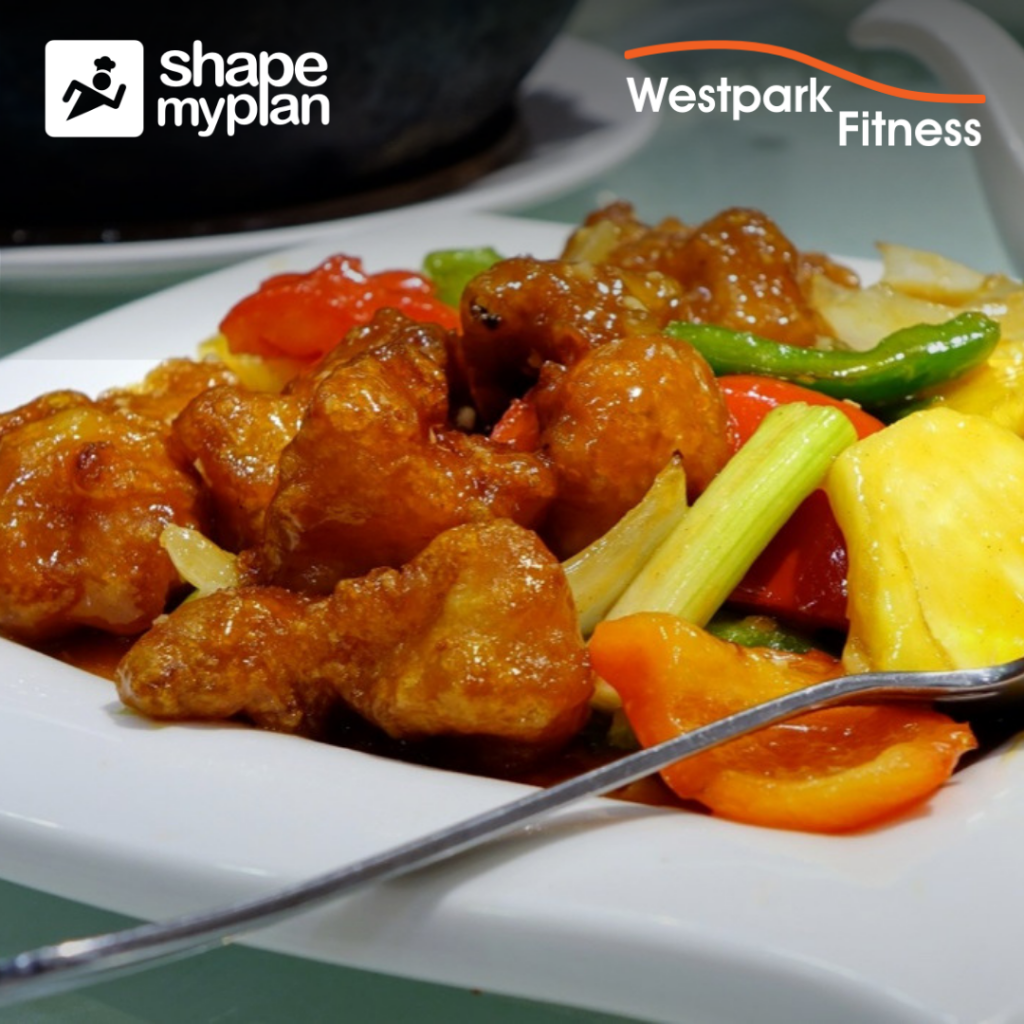 spicy chicken stir-fry recipe westpark fitness image of chicken and vegetables and rice on a white place with a silver spoon