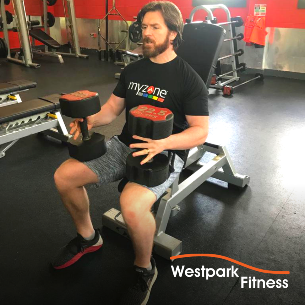 westpark fitness dumbbell shoulder press exercise male gym goer sitting on a bench holding a dumbbell on each of his legs