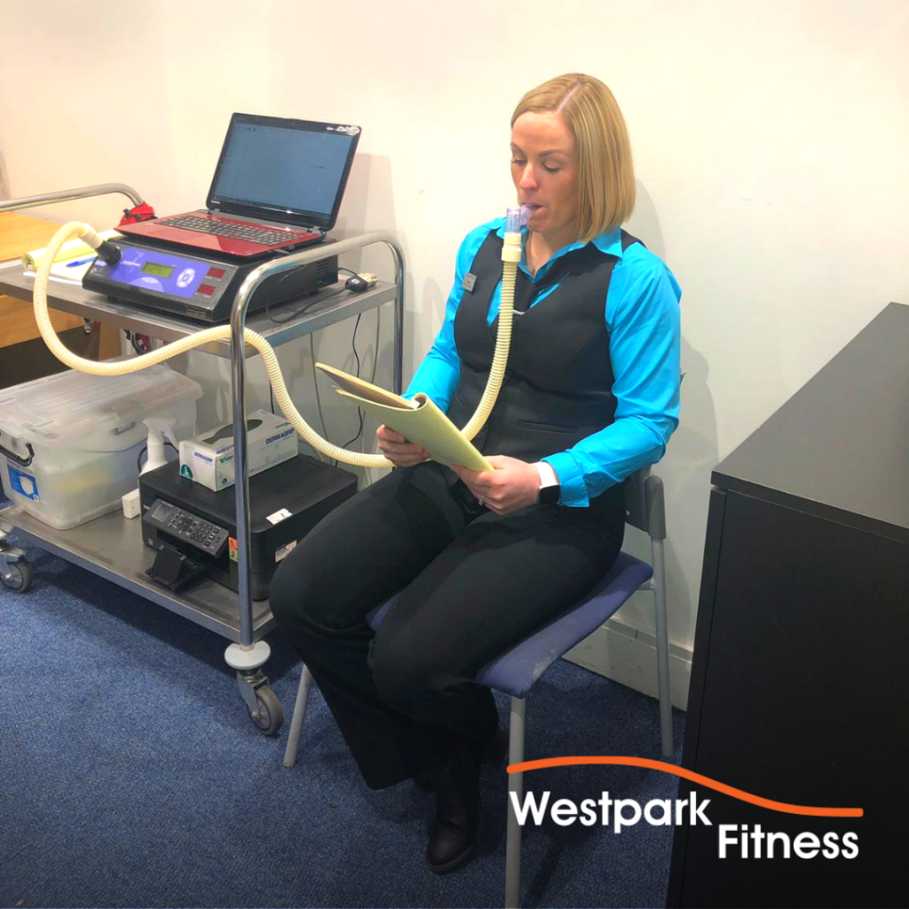 metabolic testing in dublin 24 at westpark fitness with health matters woman sitting on chair wearing a breathing mask with a long tube