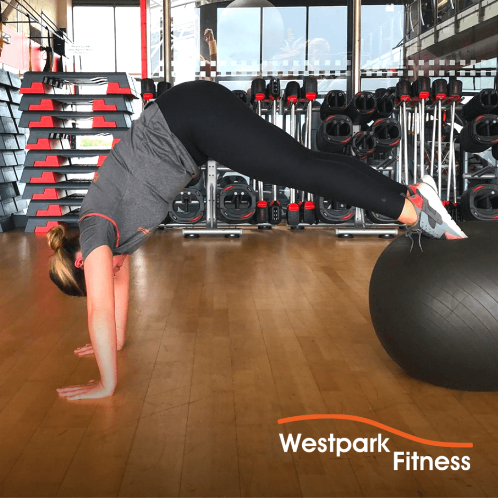 swiss ball pike exercise of the week at westpark fitness