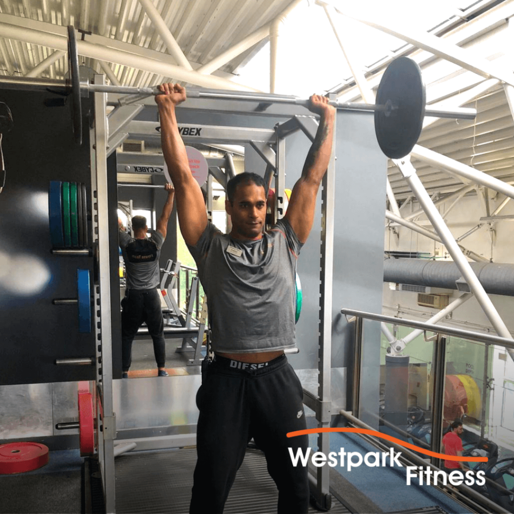 militray press exercise of the week at westpark fitness
