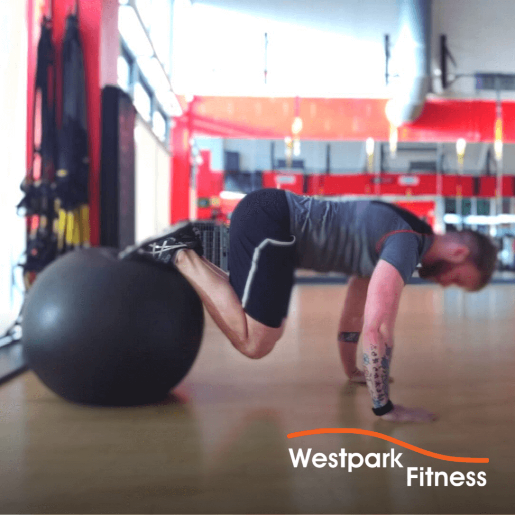 swiss ball jackknife exercise of the week at westpark fitness