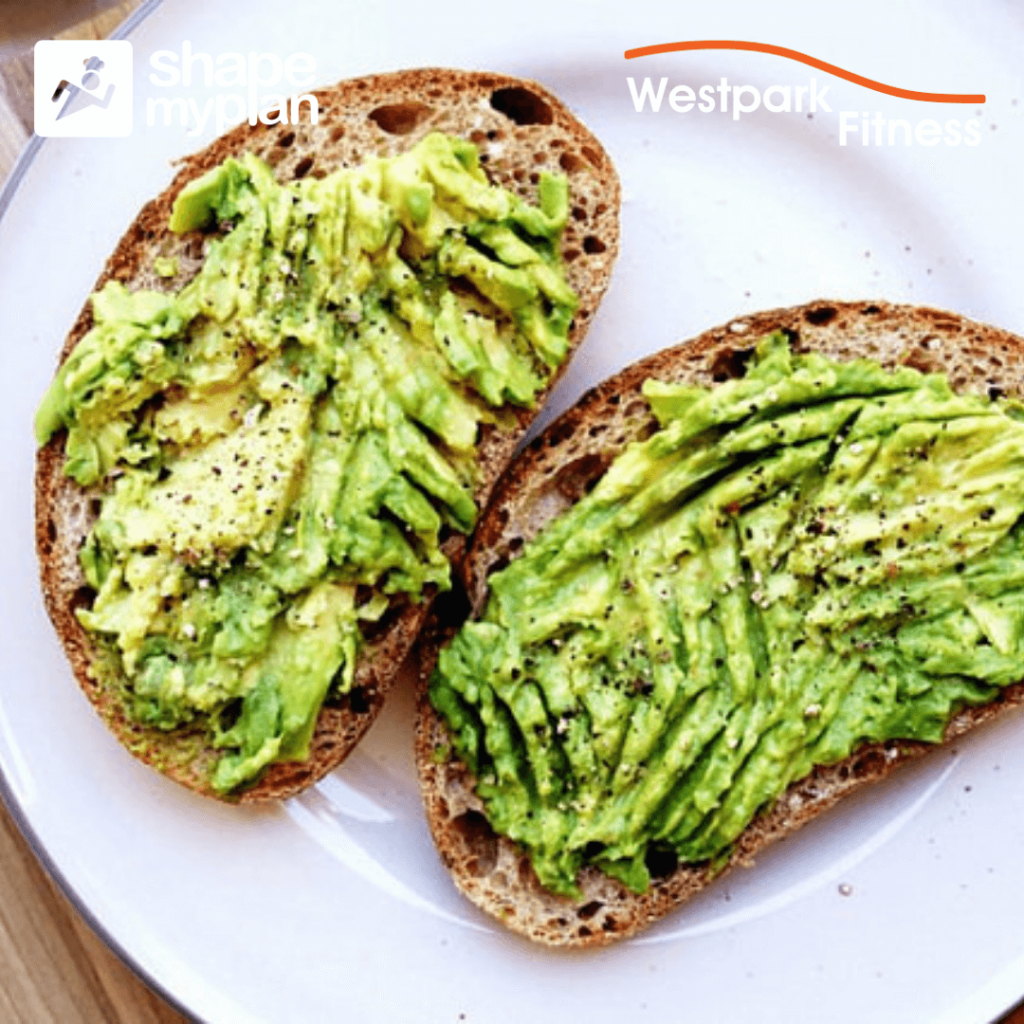 gym routine image of two slices of bread covered in avocado on a white plate