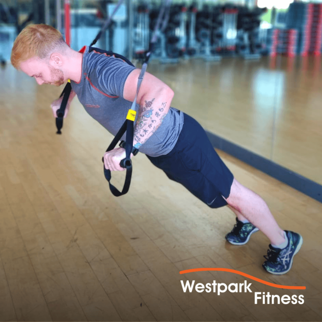 trx chest press exercise of the week at westpark fitness